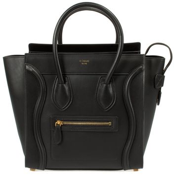 Celine Micro Luggage Handbag | Smooth Black Calfskin