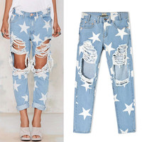 Pencil Denim pant high waist ripped jeans for women hipster frayed cropped light blue fear of god slim fit skinny camisa robin