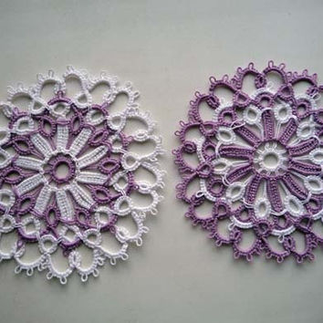 Wedding Lace Coasters  - wedding decor  - handmade doily  - vintage style - Handmade coasters - home decor - table decor-retro party