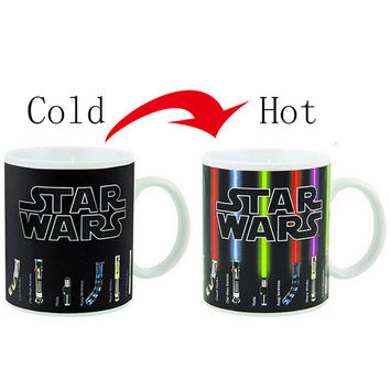 Hot Sale Star Wars Lightsaber Heat Reveal Mug color change coffee cup sensitive Ceramic Mug Temperature sensing Birthday Gift
