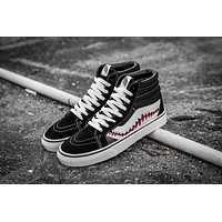 Vans x BAPE SHARK Customs SK8-Hi Black White High Top Men Flats Shoes Canvas Sneakers Women Sport Shoes