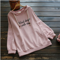 Loose Letter Embroidery Hooded Sweater Top B0014421