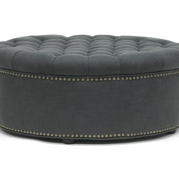 Baxton Studio Iglehart Gray Linen Modern Tufted Ottoman Set of 1