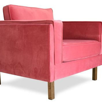Lexington Mid-Century Modern Velvet Accent Chair Rose Gold Pink