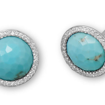 Round Freeform Faceted Turquoise Earrings with CZ Edge