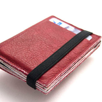RED, Leather wallet , Small wallet, Leather purse, Made of up cycled leather, Wallet with black elastic band