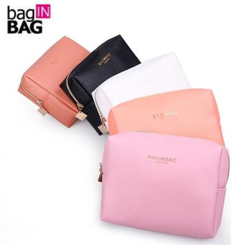 Fashion Cross Pattern PU Leather Cosmetic Bag Women MakeUp Bag Organizer Waterproof Storage Bag Clutch bolsa neceser maquillaje