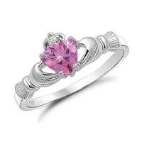 Sterling Silver Claddagh Ring with Simulated Pink Sapphire
