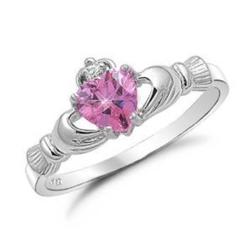 Kriskate & Co. Irish Claddagh Ring .925 Sterling Silver with Simulated Pink Sapphire Heart Promise Ring