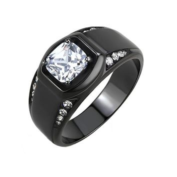 The Man - Men's Stainless Steel Black Ion Plated CZ Statement Ring