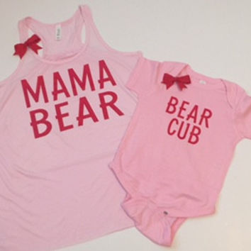 Mama Bear - Bear Cub - VALENTINES DAYS -Mommy and Me Set - Ruffles with Love - RWL Kids