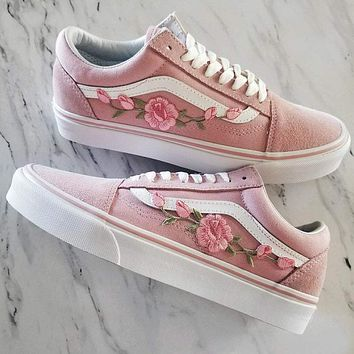Pink/Pink RoseBuds Custom Vans Old-Skool Sneakers