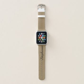 Personalized Name Faux Textured Gold and Black Apple Watch Band