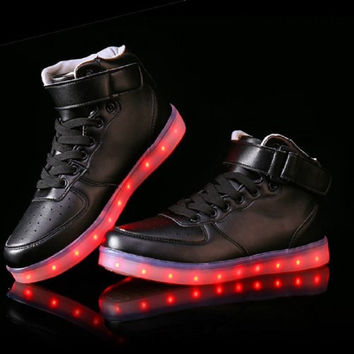 [Free Shippng] USB Charging Shoes 2015 High Top Men Women Luminous Shoes Black