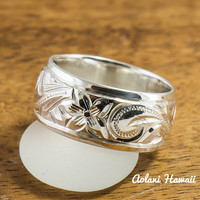 Traditional Hawaiian Hand Engraved Sterling Cutout Silver Ring (8mm width, Barrel Style)