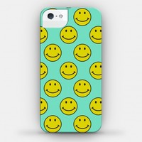 Teal Smiley Face Pattern
