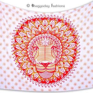 Bohemian Leo Rasta Lion Indian Wall Hanging Mandala Tapestry Gypsy Cotton Bedspread