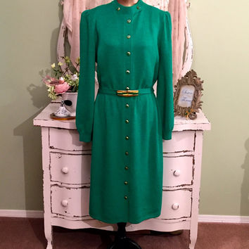 St John Dress, Emerald Green Dress, Knit By Marie Gray, Resort Wear, Designer Couture Wear, Buttoned Stretch Knit Dress, Womens Size Large