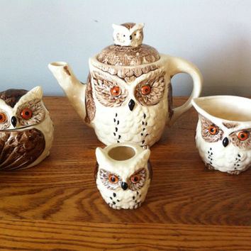Vintage Owl Teapot Set. Excellent Condition. Made in Japan