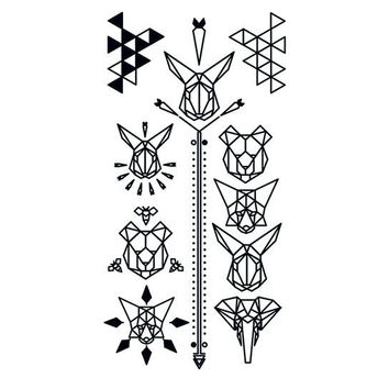 Black Geometric Animal Temporary Tattoo Set