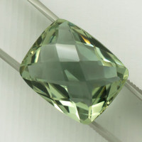 Green Amethyst: 16.36ct Cushion Checker Board Shape Gemstone Quartz Mineral Gem Cocktail Ring Vermarine Lime Citrine Prasiolite Quartz 20852