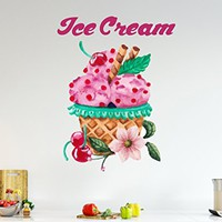 Full Color Mural Ice Cream Wall Sticker Decal Vinyl Colorful Kitchen Decor SD20