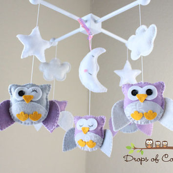 "Baby Crib Mobile - Owl Baby Mobile - Nursery Owl Mobile - Purple and Gray Owls ""Five Owls in the night"" (You can pick your colors)"