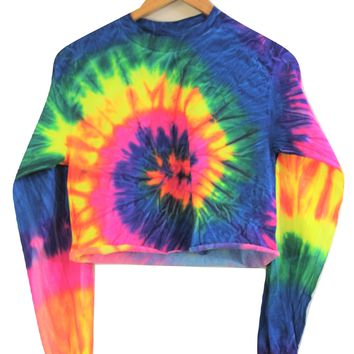 Neon Rainbow Tie-Dye Cropped Long Sleeve Tee