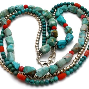 Turquoise Coral & Sterling Silver Bead Necklace