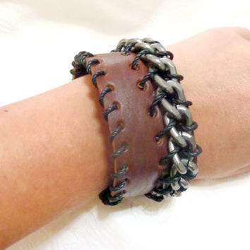 Leather Rocker Cuff bracelet - large leather cuff with hematite chain and cotton cord stitching - statement large bracelet, unisex