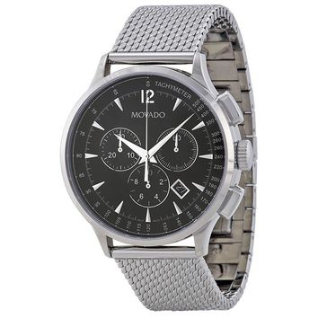 Movado Circa Chronograph Black Dial Stainless Steel Mesh Mens Watch 0606803
