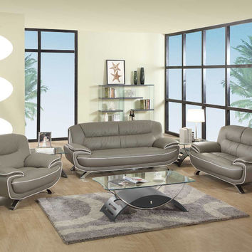 2 pc Shirley II collection modern style gray genuine leather upholstered sofa and love seat set