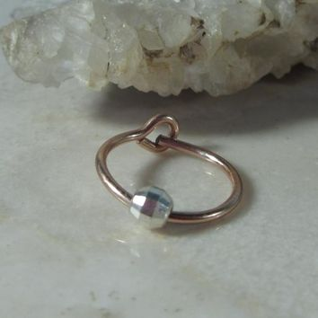 Small Hoop Earring Pink Gold with Silver Mirror Cut Bead Single