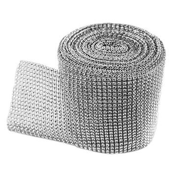"Silver Diamond Sparkling Rhinestone Mesh Ribbon for Event Decorations, Wedding Cake, Birthdays, Baby Shower, Arts & Crafts, 4.75"" x 10 Yards, 24 Row, 1 Roll by Super Z Outlet®"