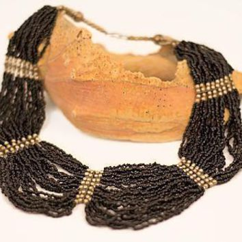 Vintage Mourning Necklace with Black Seed Beads