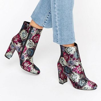 Dune Oxford Floral Heeled Ankle Boots at asos.com
