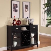 King's Brand WR1242 Wood Wine Rack Console Sideboard Table with Drawers and Storage, Black Finish