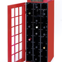 Wood Wine Cabinet with A Dark Red Finish