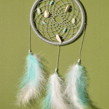 Grey Dreamcatcher with turquoise, amazonite gemstone and natural Hag Stones/Holey Stones, plastic beads, wall decor, wall hanging