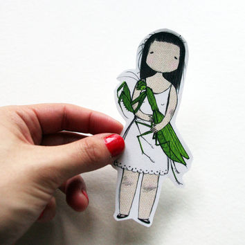 Mantis-Loving Girl Sticker