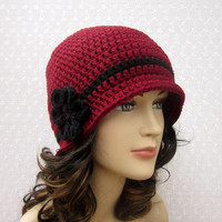 Cranberry Red Crochet Hat - Womens Cloche - Ladies Flapper Hat with Flower - Fall Fashion Accessories
