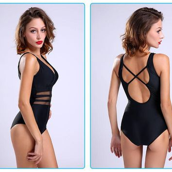 One Piece Mesh Plus Size Bathing Suit