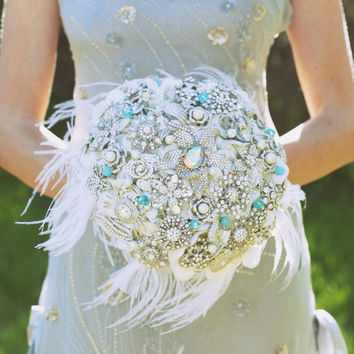 Tiffany crystal brooch bouquet -- deposit on a made to order bridal wedding bouquet