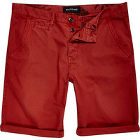River Island MensRed chino shorts