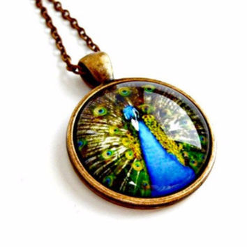 Blue Peacock Necklace