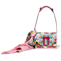 Dolce & Gabbana - Lucia printed textured-leather and watersnake shoulder bag and silk-twill scarf set