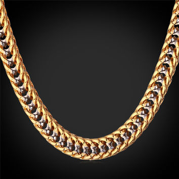 Thick Gold Plated Two Tone Chunky Chains Necklace