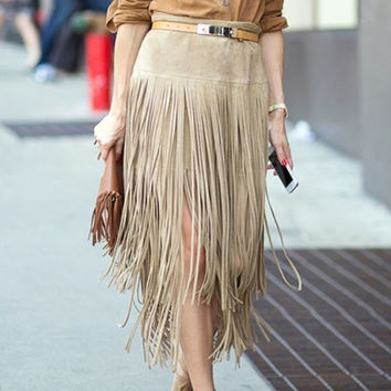 2016 New Suede Leather Fringed Skirts Women Autumn Plus Size S~XXL Maxi Skirt Fashion High Wiast Package Hip Saia Longa