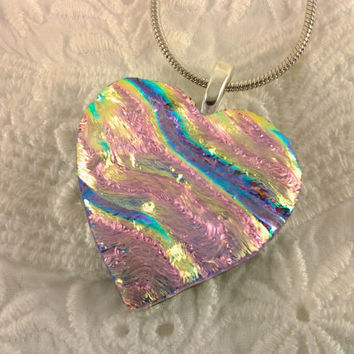 Dichroic Heart Pendant Fused Glass Jewelry Pink by AngelasArtGlass