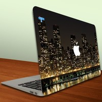 Macbook Air or Macbook Pro (13 inch) Vinyl, Removable Skin - Cityscape - New York at Night - NY Skyline